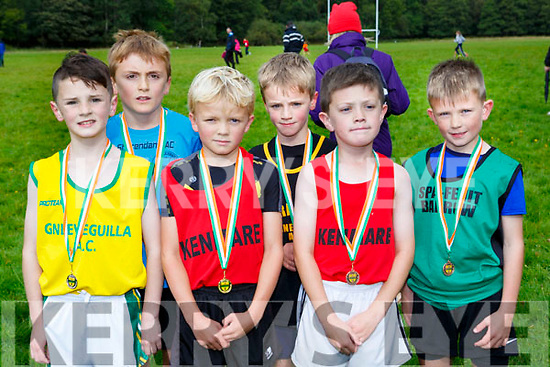 The first six home in the u10 boys at the Kerry Juvenile Cross Country championships in Killarney on Sunday l-r: Oisin O'Leary Gneeveguilla AC, Matthew O'sullivan St Brendans, Luke Merrigan Kenmare, Tiernan Lynch Farranfore Maine Valley,  Seamus Donoghue Kenmare and Conor McGibney Spa-Fenit-Barrow