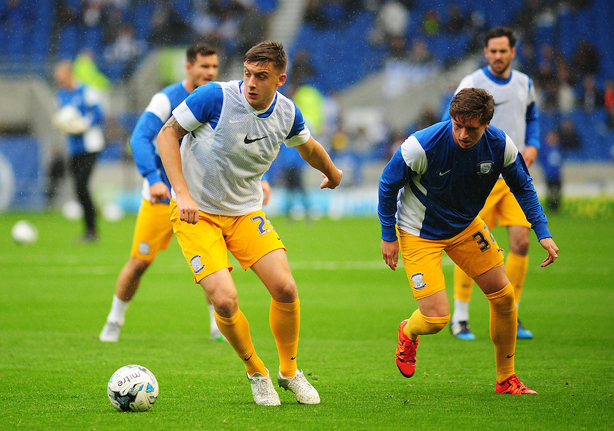 Preston North End's Jordan Hugill (left) and Adam Reach during the pre-match warm-up <br /> <br /> Photographer kevin Barnes/CameraSport<br /> <br /> Football - The Football League Sky Bet Championship - Brighton and Hove Albion v Preston North End - Saturday 24th October 2015 - American Express Community Stadium - Brighton <br /> <br /> &copy; CameraSport - 43 Linden Ave. Countesthorpe. Leicester. England. LE8 5PG - Tel: +44 (0) 116 277 4147 - admin@camerasport.com - www.camerasport.com