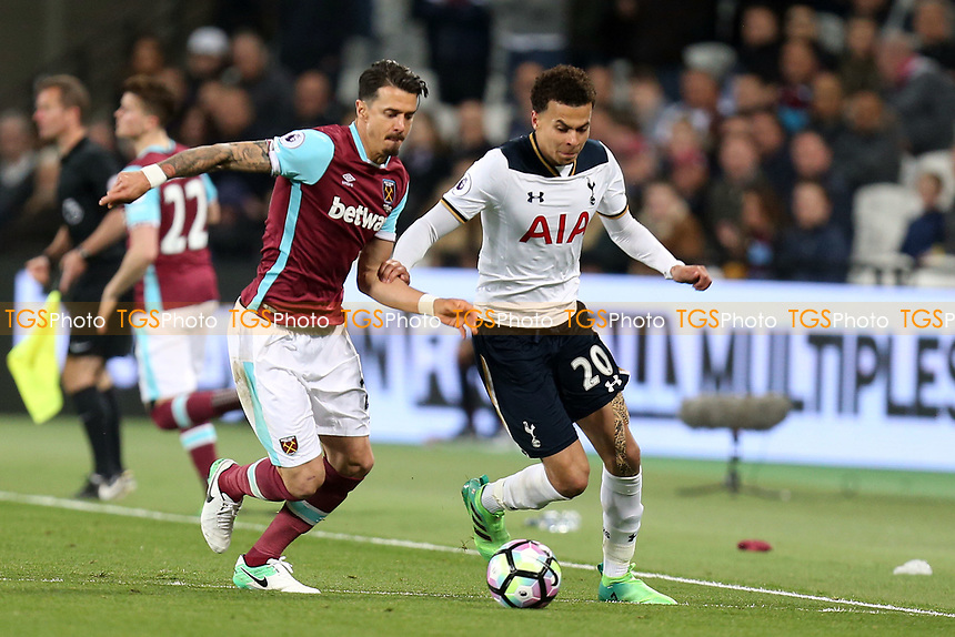 Jose Fonte of West Ham United and Dele Alli of Tottenham Hotspur during West Ham United vs Tottenham Hotspur, Premier League Football at The London Stadium on 5th May 2017