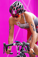 04 AUG 2012 - LONDON, GBR - Kathy Tremblay (CAN) of Canada on the bike during the women's London 2012 Olympic Games Triathlon in Hyde Park, London, Great Britain (PHOTO (C) 2012 NIGEL FARROW)