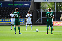 Rhian Brewster of Swansea City takes part in the minutes applause during the Sky Bet Championship match between Swansea City and Sheffield Wednesday at the Liberty Stadium in Swansea, Wales, UK. Sunday 05 July 2020