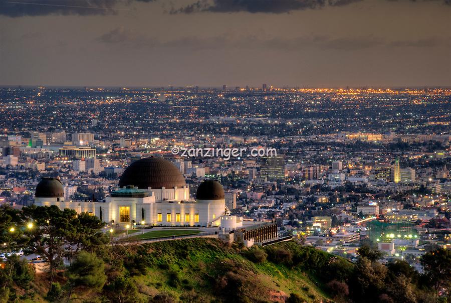 Los Angeles CA, Skyline, Twilight, Night, Magic Hour, dusk, streaking tail lights