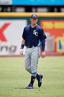 Charlotte Stone Crabs first baseman Brendan McKay (31) during warmups before a game against the Bradenton Marauders on June 3, 2018 at LECOM Park in Bradenton, Florida.  Charlotte defeated Bradenton 10-1.  (Mike Janes/Four Seam Images)