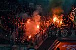 18.01.2020, Merkur Spiel-Arena, Duesseldorf, GER, DFL, 1. BL, Fortuna Duesseldorf vs. SV Werder Bremen, DFL regulations prohibit any use of photographs as image sequences and/or quasi-video<br /> <br /> im Bild / picture shows: Feuer / Rauch / Bengali / Bengalis / bengalisches Feuer / zuenden Feuerwerk /  Rauchbombe in der Fankurve von Werder Bremen<br /> <br /> Foto © nordphoto/Mauelshagen