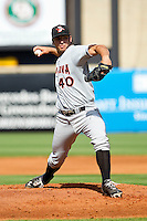 Delmarva Shorebirds starting pitcher Mark Blackmar (40) in action against the Greensboro Grasshoppers at NewBridge Bank Park on May 26, 2013 in Greensboro, North Carolina.  The Grasshoppers defeated the Shorebirds 11-2.  (Brian Westerholt/Four Seam Images)