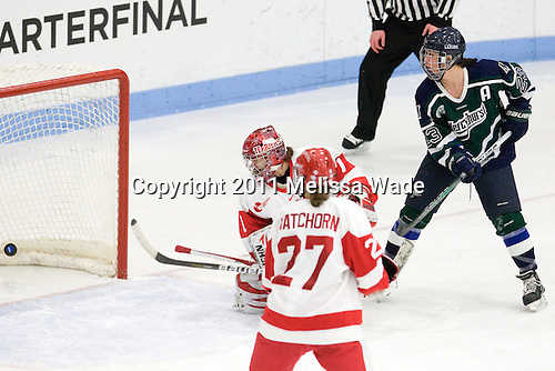 Kerrin Sperry (BU - 1), Jesse Scanzano (Mercyhurst - 23) - The Boston University Terriers defeated the visiting Mercyhurst College Lakers 4-2 in their NCAA Quarterfinal matchup on Saturday, March 12, 2011, at Walter Brown Arena in Boston, Massachusetts.