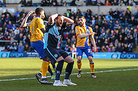 Paul Hayes of Wycombe Wanderers shows his frustration after Wycombe Wanderers fail to take the lead during the Sky Bet League 2 match between Wycombe Wanderers and Mansfield Town at Adams Park, High Wycombe, England on 25 March 2016. Photo by David Horn.