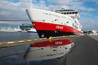 Hurtigruten cruise, The Fram ship in Reykjavik, Iceland.