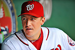 8 September 2011: Washington Nationals pitcher Jordan Zimmermann chats in the dugout during a game against the Los Angeles Dodgers at Nationals Park in Washington, DC. The Dodgers defeated the Nationals 7-4 to take the third game of their 4-game series. Mandatory Credit: Ed Wolfstein Photo