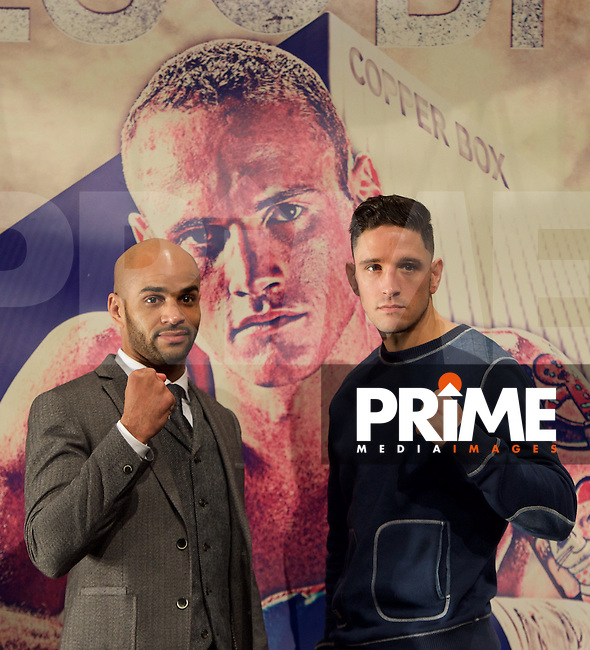 Leon McKenzie (left) and Kelvin Young during the final press conference ahead of the George Groves v Andrea Di Luisa fight set for Saturday 30th January 2016 at the Copper Box, at Stratford Circus, Theatre Square, England on 28 January 2016. Photo by Alan  Stanford/PRiME Media Images.