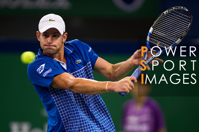 SHANGHAI, CHINA - OCTOBER 13:  Andy Roddick of USA returns a ball to Guillermo Garcia-Lopez of Spain during day three of the 2010 Shanghai Rolex Masters at the Shanghai Qi Zhong Tennis Center on October 13, 2010 in Shanghai, China.  (Photo by Victor Fraile/The Power of Sport Images) *** Local Caption *** Andy Roddick