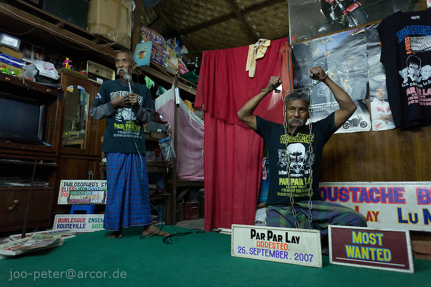 Moustache brothers,  Mandalay, Myanmar, 2011. A-nyeint is a form of vaudeville folk opera with dance, music, jokes and satire.
