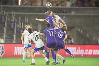 Orlando, FL - Saturday June 03, 2017: Angela Salem, Ali Krieger, Alanna Kennedy, Maddy Evans during a regular season National Women's Soccer League (NWSL) match between the Orlando Pride and the Boston Breakers at Orlando City Stadium.