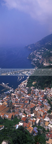 View looking down to the ancient costal village of Amalfi, in the centre of the Amalfi Coast, Italy