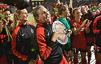 Portland, Oregon - Sunday September 11, 2016: Portland Thorns FC defender Emily Menges (4) receives the supporters player of the year award during a regular season National Women's Soccer League (NWSL) match at Providence Park.