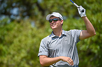 Adam Schenk (USA) loses his club as he watches his tee shot on 2 during day 1 of the Valero Texas Open, at the TPC San Antonio Oaks Course, San Antonio, Texas, USA. 4/4/2019.<br /> Picture: Golffile | Ken Murray<br /> <br /> <br /> All photo usage must carry mandatory copyright credit (© Golffile | Ken Murray)