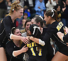 Grace Riddle #6 of Wantagh, left, and teammates celebrate after their 3-2 victory over Kings Park in the girls volleyball Class A Long Island Championship at Farmingdale State College on Sunday, Nov. 11, 2018. The Warriors rallied from an 0-2 set deficit to win.