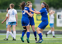 NWA Democrat-Gazette/CHARLIE KAIJO Rogers High School midfielder Skylurr Patrick (3) reacts with teammates after scoring her second goal during the semifinals of the 7A Girls State Soccer Tournament, Saturday, May 12, 2018 at Whitey Smith Stadium at Rogers High School in Rogers. Rogers advanced to the finals when midfielder Skylurr Patrick (3) scored both of Rogers' goals defeating Southside High School, 2-1.