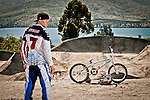 Portrait of Connor Fields USA BMX Star on the London Replica BMX track at the US Olympic Training Center in Chula Vista, CA