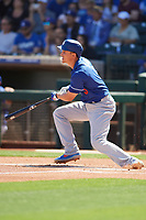 Corey Seager (5) of the Los Angeles Dodgers follows through on a swing during a Cactus League Spring Training game against the Texas Rangers on March 8, 2020 at Surprise Stadium in Surprise, Arizona. Rangers defeated the Dodgers 9-8. (Tracy Proffitt/Four Seam Images)