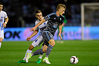 VIGO, SPAIN - APRIL 13 : Daniel Wass midfielder of Celta de Vigo RC is challenged by Leandro Trossard forward of KRC Genk during the UEFA Europa League, Quarter-finals, 1st leg match between RC Celta de Vigo and KRC Genk at the Balaidos stadium on April 13, 2017 in Vigo, Spain, 13/04/2017 <br /> Vigo 13-04-2016 <br /> Celta Vigo - Genk Europa League <br /> Foto Panoramic / Insidefoto <br /> ITALY ONLY