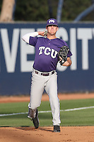 Derek Odell (5) of the TCU Horned Frogs throws before a game against the Loyola Marymount Lions at Page Stadium on March 16, 2015 in Los Angeles, California. TCU defeated Loyola, 6-2. (Larry Goren/Four Seam Images)