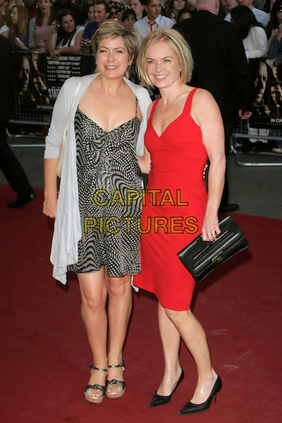 "PENNY SMITH & MARIELLA FROSTRUP.""State of Play"" World Film Premiere at Empire cinema, Leicester Square, London, England. .April 21st, 2009 .full length red dress black silver grey gray print cardigan clutch bag shoes sandals pointy ankle strap.CAP/AH.©Adam Houghton/Capital Pictures."