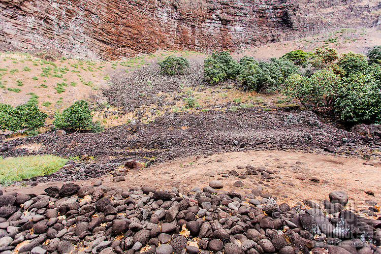 Remains of ancient Hawaiian heiau (temple) in Nualolo Kai village, Na Pali Coast, Kaua'i