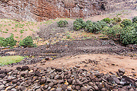 Remains of ancient Hawaiian heiau (temple) in Nualolo Kai village, Na Pali Coast, Kaua'i