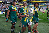 (L-R) Steve Mafi, Vereniki Goneva and Logovi'i Mulipola of Leicester Tigers with the trophy after the Aviva Premiership Final between Leicester Tigers and Northampton Saints at Twickenham Stadium on Saturday 25th May 2013 (Photo by Rob Munro)