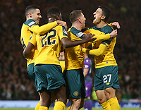 2nd November 2019; Hampden Park, Glasgow, Scotland; Scottish League Cup Football, Hibernian versus Celtic; Callum McGregor of Celtic celebrates with his team mates after he makes it 2-0 to Celtic in the 21st minute - Editorial Use
