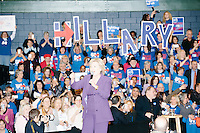 "Campaign volunteers hold up large letters spelling ""Hillary"" former Secretary of State and Democratic presidential candidate Hillary Rodham Clinton speaks at a rally at Nashua Community College in Nashua, New Hampshire, on Tues. Feb. 2, 2016. Former president Bill Clinton also spoke at the event. The day before, Hillary Clinton won the Iowa caucus by a small margin over Bernie Sanders."