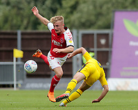 Fleetwood Town's Kyle Dempsey rides the challenge of Oxford United's Cameron Brannagan<br /> <br /> Photographer David Shipman/CameraSport<br /> <br /> The EFL Sky Bet League One - Oxford United v Fleetwood Town - Saturday August 11th 2018 - Kassam Stadium - Oxford<br /> <br /> World Copyright &copy; 2018 CameraSport. All rights reserved. 43 Linden Ave. Countesthorpe. Leicester. England. LE8 5PG - Tel: +44 (0) 116 277 4147 - admin@camerasport.com - www.camerasport.com