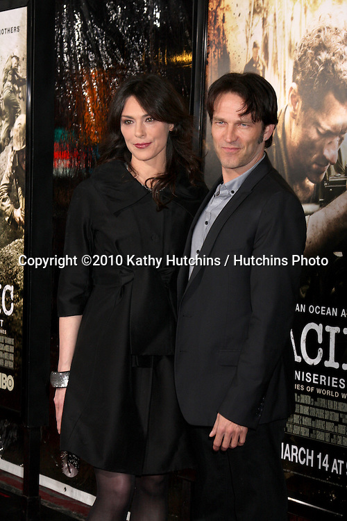 "Michelle Forbes & Stephen Moyer.arriving at HBO's ""The Pacific"" Premiere Screening .Mann's Chinese Theater.Los Angeles, CA.February 24, 2010.©2010 Kathy Hutchins / Hutchins Photo...."