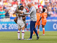 LYON,  - JULY 7: Julie Ertz #8 celebrates with Crystal Dunn #19 and Graeme Abel during a game between Netherlands and USWNT at Stade de Lyon on July 7, 2019 in Lyon, France.