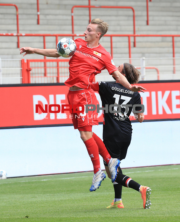 27.06.2020, Stadion an der Wuhlheide, Berlin, GER, DFL, 1.FBL, 1.FC UNION BERLIN  VS. Fortuna Duesseldorf , <br /> DFL  regulations prohibit any use of photographs as image sequences and/or quasi-video<br /> im Bild Joshua Mees (1.FC Union Berlin #8), Adam Bodzek (Fortuna Duesseldorf #13)<br /> <br /> <br />      <br /> Foto © nordphoto / Engler