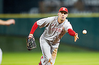 Nebraska Cornhuskers first baseman Austin Christensen (34) tosses the ball to first during the Houston College Classic against the LSU Tigers on March 8, 2015 at Minute Maid Park in Houston, Texas. LSU defeated Nebraska 4-2. (Andrew Woolley/Four Seam Images)