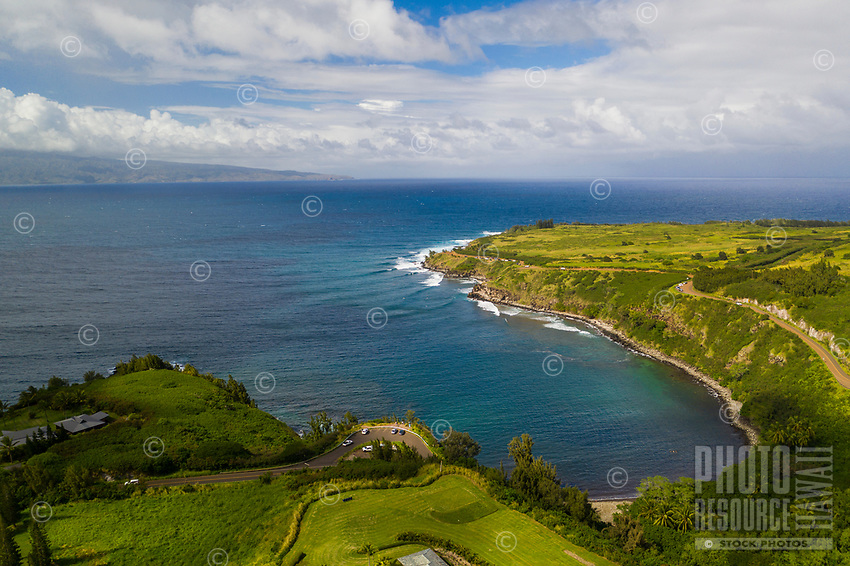 Aerial view of Honolua Bay, Maui.