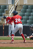 Malvin Matos (26) of the Lakewood BlueClaws at bat against the Kannapolis Intimidators at Kannapolis Intimidators Stadium on April 8, 2018 in Kannapolis, North Carolina.  The Intimidators defeated the BlueClaws 5-1 in game one of a double-header.  (Brian Westerholt/Four Seam Images)