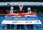 12.05.2019 Rangers v Celtic: Jamie Murphy, RN Commander John Livesey and ex-SAS man Ant Middleton with a cheque for £12k from Rangers Charity Foundation.