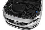 Car Stock 2018 Volvo S60 R-Design 4 Door Sedan Engine  high angle detail view