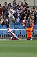 27.08.2012 SPAIN -  La Liga 12/13 Matchday 2th  match played between Atletico de Madrid vs Athletic Club de Bilbao (4-0) with hat-trick Radamel Falcao at Vicente Calderon stadium. The picture show  Radamel Falcao Garcia (Colombian striker of At. Madrid)celebrating his team's goal