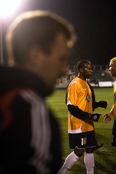 """March 14, 2009. Cary, NC.. The Carolina Railhawks went home in foul weather with a  1-0 victory over the New England Revolution of the MLS, in the inaugural """"Community Shield"""" match and their first professional outing under new coach, Martin Rennie."""