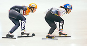 2nd February 2019, Dresden, Saxony, Germany; World Short Track Speed Skating; final, 1500 meters of the women's race in the EnergieVerbund Arena : winner Ji Yoo Kim from South Korea (r) in action in front of Suzanne Schulting from the Netherlands.