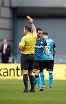 Nederland, Amsterdam, 25 maart 2012.Eredivisie.Seizoen 2011-2012.Ajax-PSV 2-0.Tim Matavz van PSV krijgt van scheidsrechter Pieter Vink de gele kaart