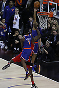 17th January 2019, The O2 Arena, London, England; NBA London Game, Washington Wizards versus New York Knicks; Allonzo Trier of the New York Knicks intercepts the goalbound shot above the basket and is penalised for 2 points for goaltending winning the game for the Washington Wizards 101-100