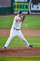Ogden Raptors relief pitcher Colin Hering (28) delivers a pitch to the plate against the Missoula Osprey in Pioneer League action at Lindquist Field on July 20, 2015 in Ogden, Utah. Missoula defeated Ogden 10-6. (Stephen Smith/Four Seam Images)