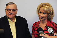 Phoenix, Arizona -- Actress Pamela Anderson with Maricopa County Sheriff Joe Arpaio at the Lower Buckeye County Jail facilities in Phoenix, Arizona. Anderson visited the jail in Phoenix, Arizona to promote all-vegetarian meals for inmates. Anderson visited the detention facilities as a spokesperson for People for the Ethical Treatment of Animals (PETA) . The actress was given a tour of the facilities by Maricopa County Sheriff Joe Arpaio.  Anderson was accompanied by PETA Senior Vice President Dan Mathews. Photos by Eduardo Barraza © 2015