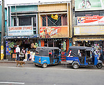 Shops and tuk-tuk taxis, Haputale, Badulla District, Uva Province, Sri Lanka, Asia