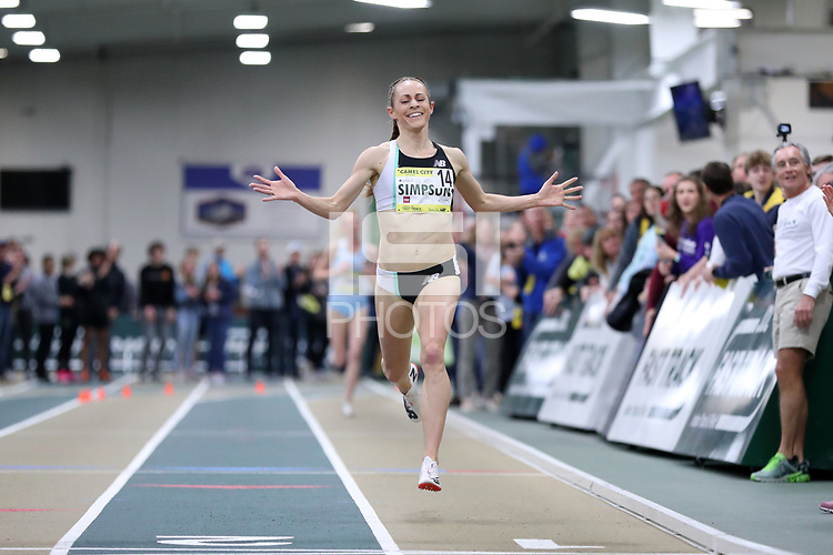 WINSTON-SALEM, NC - FEBRUARY 08: Jenny Simpson #14 wins the Women's Camel City Elite 3000 Meters with a new track record time of 8:51.41 at JDL Fast Track on February 08, 2020 in Winston-Salem, North Carolina.